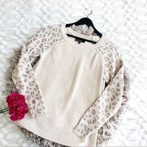 Au Lieu Leopard Sleeve Ivory Print Sweater